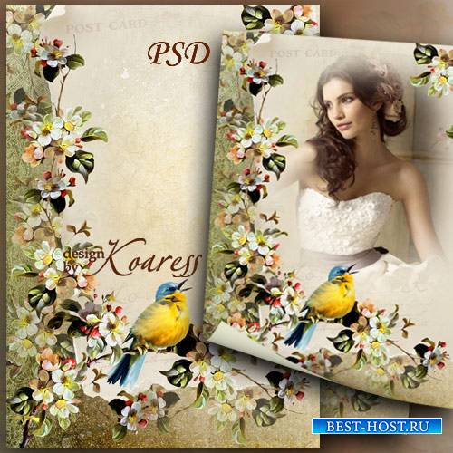 Романтическая рамка для фото с цветами и певчей птичкой - Весенняя история