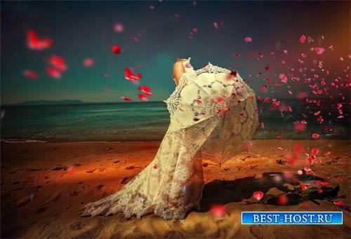 Шаблон psd женский - Прогулка по пляжу в кружевном платье и с белым зонтом