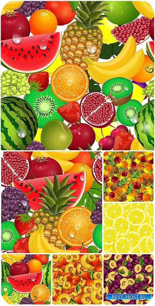 Векторные фоны с фруктами и ягодами / Vector backgrounds with fruits and be ...