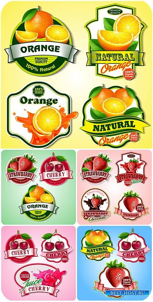 Продуктовые этикетки в векторе, фрукты и ягоды / Food labels vector, fruits ...