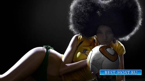 Шаблон женский - Стройная болельщица футбола