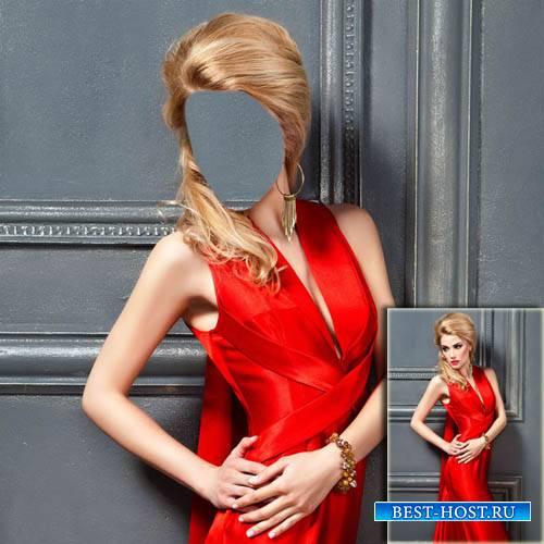 Шаблон для Photoshop - В красивом красном вечернем платье