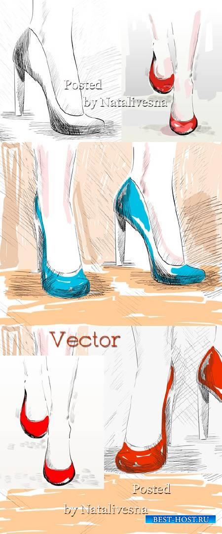 Женские туфельки  в Векторе