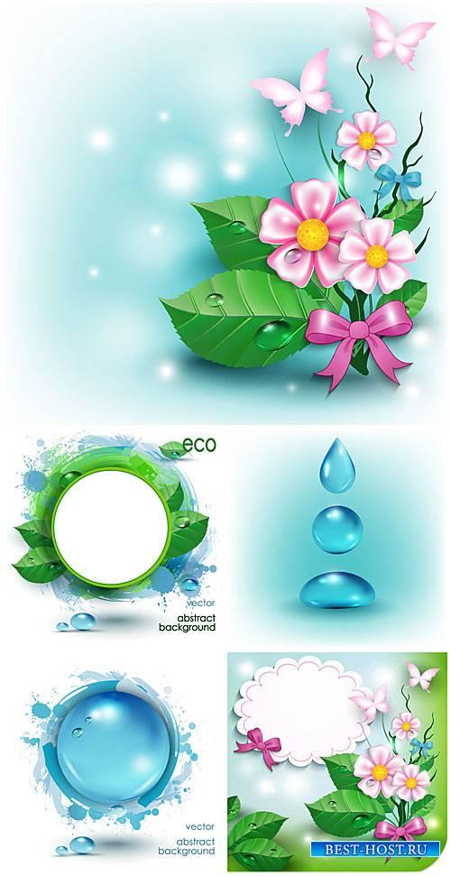 Эко фоны с цветами и бабочками, вектор / Eco background with flowers and bu ...
