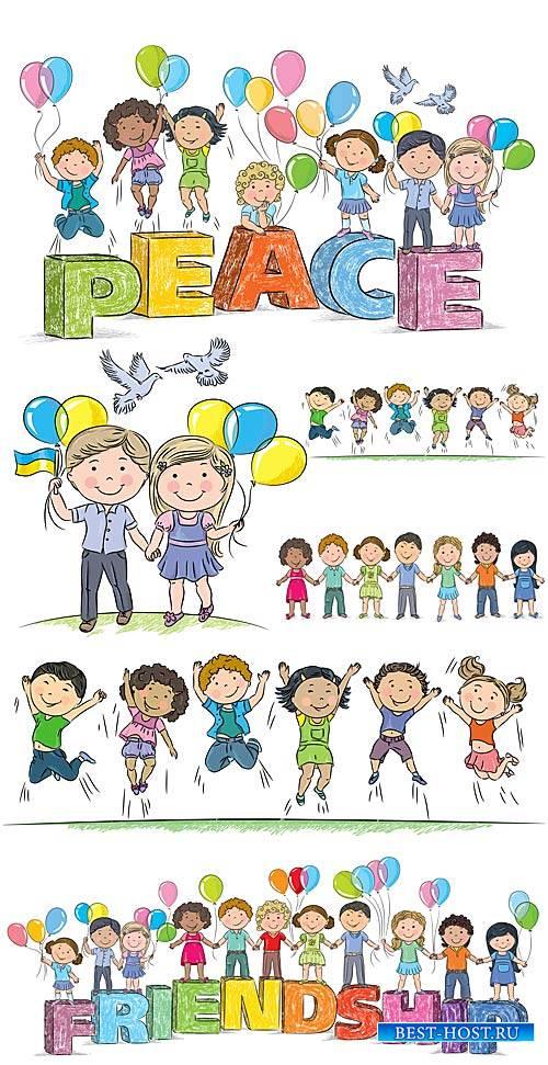 Дети в векторе, дружба / Children vector, friendship