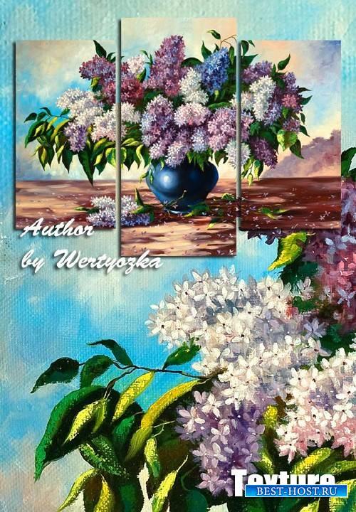 Модульная картина триптих - Сирень, цветы в вазе