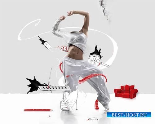 Шаблон для Photoshop - Нарисованный танец