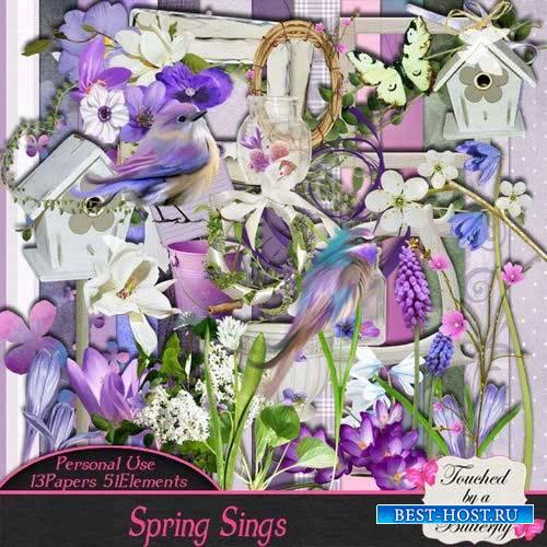 Весенний цветочный скрап-комплект - Весна поет