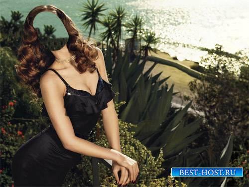 Шаблон для фотомонтажа - На террасе у моря в красивом платье