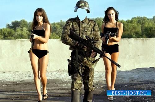 Шаблон psd мужской - Солдат с оружием и с двумя девушками