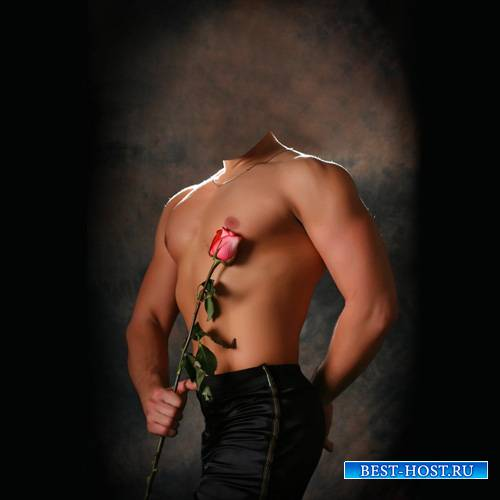Шаблон мужской - Накаченный парень дарит розу