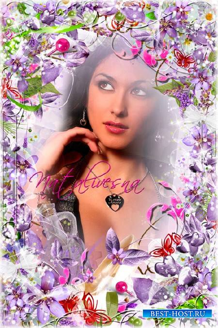 Фиолетовая рамочка с цветами -  Цветочная фантазия