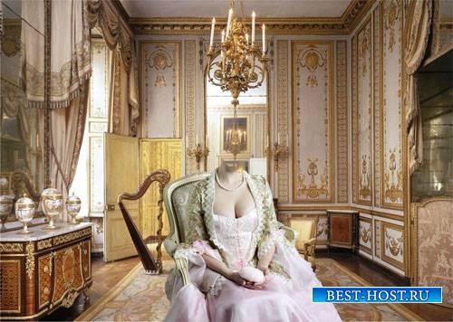 Шаблон psd - Леди на кресле во дворце