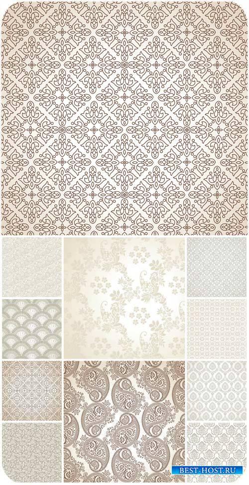 Фоны с узорами, цветочные фоны в векторе / Backgrounds with patterns, flora ...