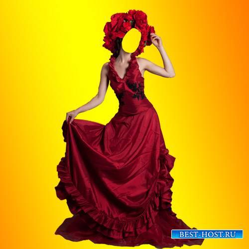 Шаблон для девушек - Красное платье для девушек