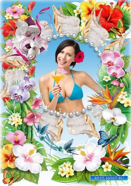 Красивая женская рамка для фотографии с тропическими цветами