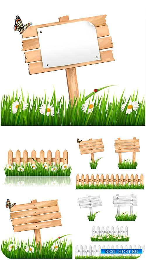 Деревянные таблички, трава и ромашки в векторе / Wooden plaque, grass and d ...