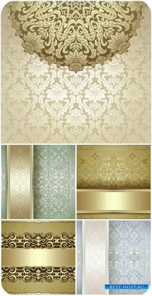 Векторные фоны с винтажными узорами, золотые узоры / Vector backgrounds wit ...