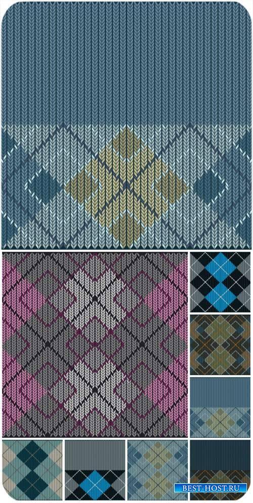 Векторные фоны, вязанные текстуры / Vector backgrounds, knitted texture