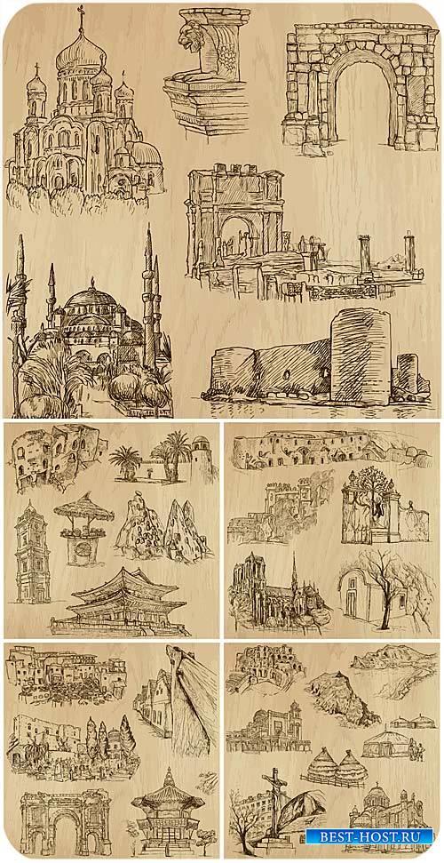 Архитектура разных стран мира, вектор / Architecture around the world, vector