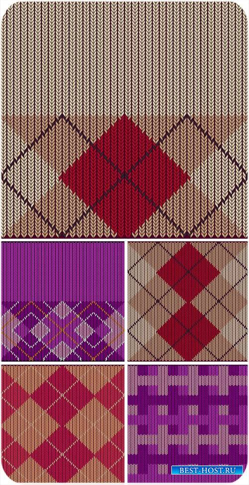 Вязаные клетчастые текстуры в векторе / Knitted checkered texture vector
