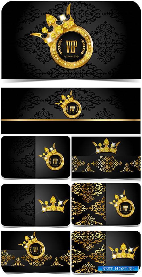 Вип карточки с золотыми узорами, вектор / VIP card with golden ornaments, vector