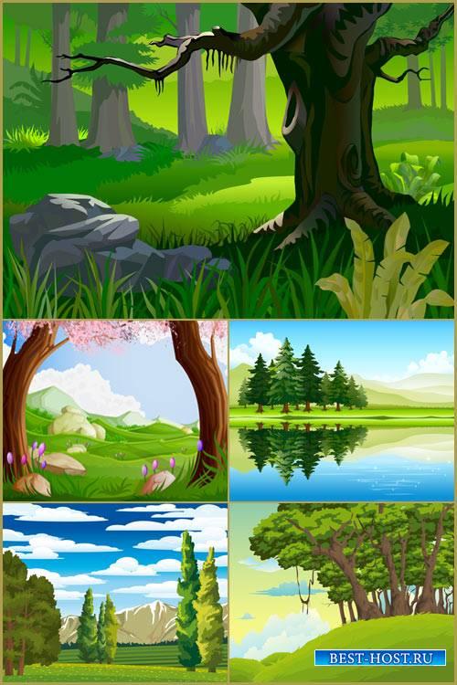 Лесные пейзажи векторные фоны