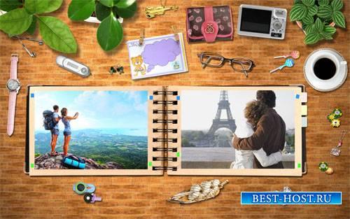 Рамка для фотошоп - Книга ваших путешествий