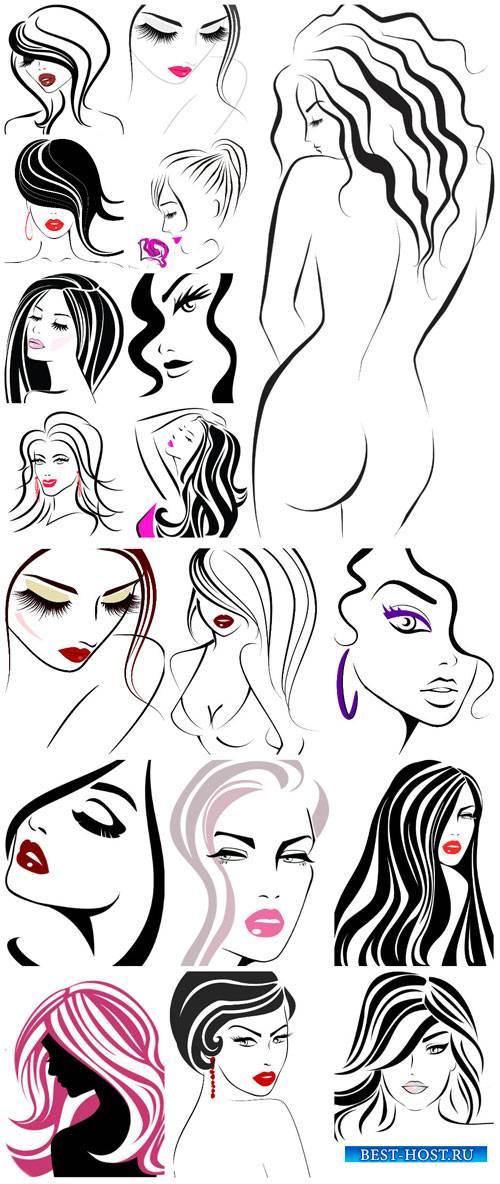 Девушки, большая векторная коллекция / Girls, large vector collection