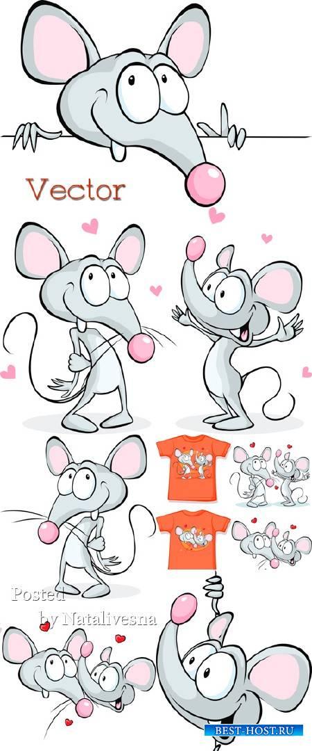 Мышь с сердечками в векторе