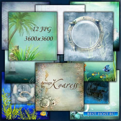 Набор морских фонов для фотошопа - Волны, пальмы, морское дно