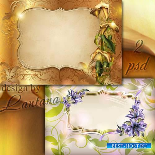 Многослойные фоны для фотошопа  - Каллы и лилии