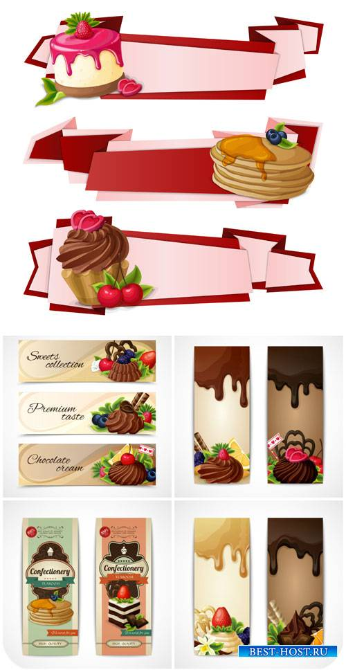 Баннеры в векторе, сладости / Banners vector sweets
