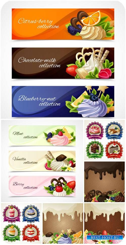 Этикетки и баннеры в векторе, кексы / Labels and banners vector, cupcakes