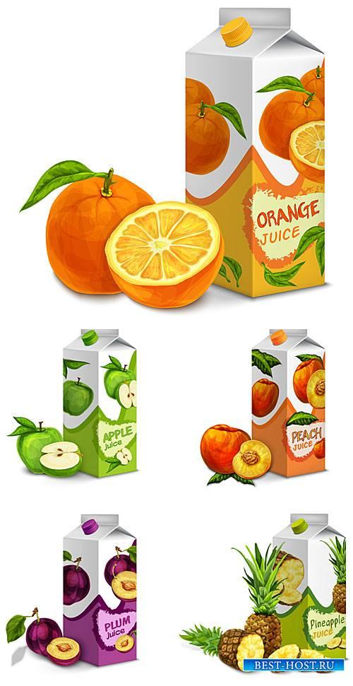 Свежие соки, фрукты, ягоды в векторе / Fresh juices, fruits, berries vector