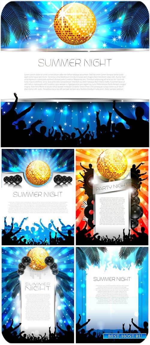 Летние диско фоны в векторе / Summer disco backgrounds vector
