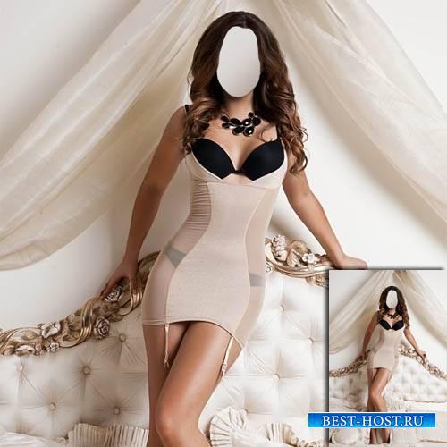 Шаблон psd - Шикарная девушка стоя на кровати