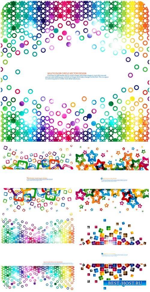 Векторные фоны с разноцветными россыпями / Vector backgrounds with multicol ...