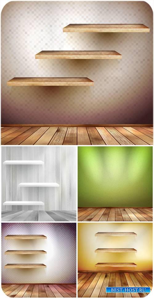 Деревянные полочки, фоны в векторе / Wooden shelves, backgrounds vector