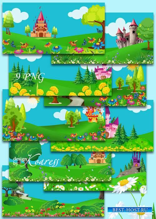 Детские сказочные фоны с нарисованными замками, цветами, деревьями