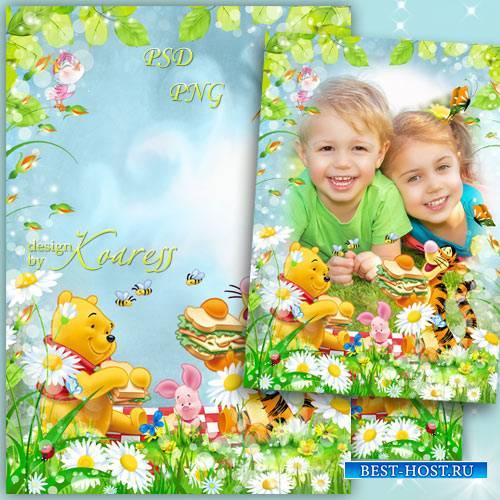 Рамка для детских летних фото с героями мультфильма Диснея Винни Пух - Весе ...
