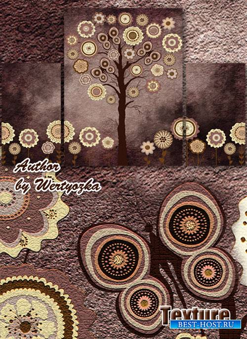 Модульная картина триптих - Креативное дерево и цветы