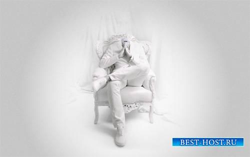 На кресле в костюме - Шаблон psd