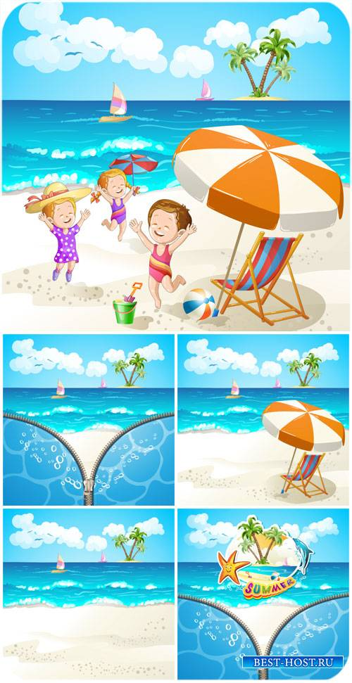 Дети на море, векторные фоны с морским пейзажем / Children of the sea, vect ...