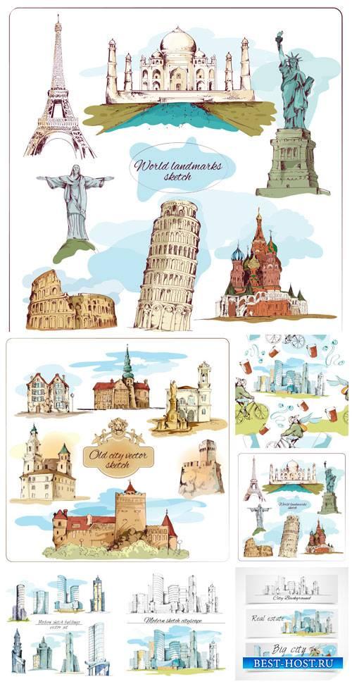 Страны и города в векторе, архитектура / Countries and cities in the vector ...