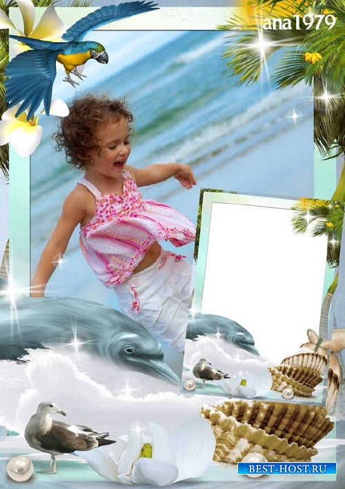 Рамка для фотошопа - Солнце и пальмы