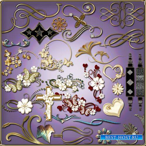 Элементы декора, уголки, завитки на прозрачном фоне