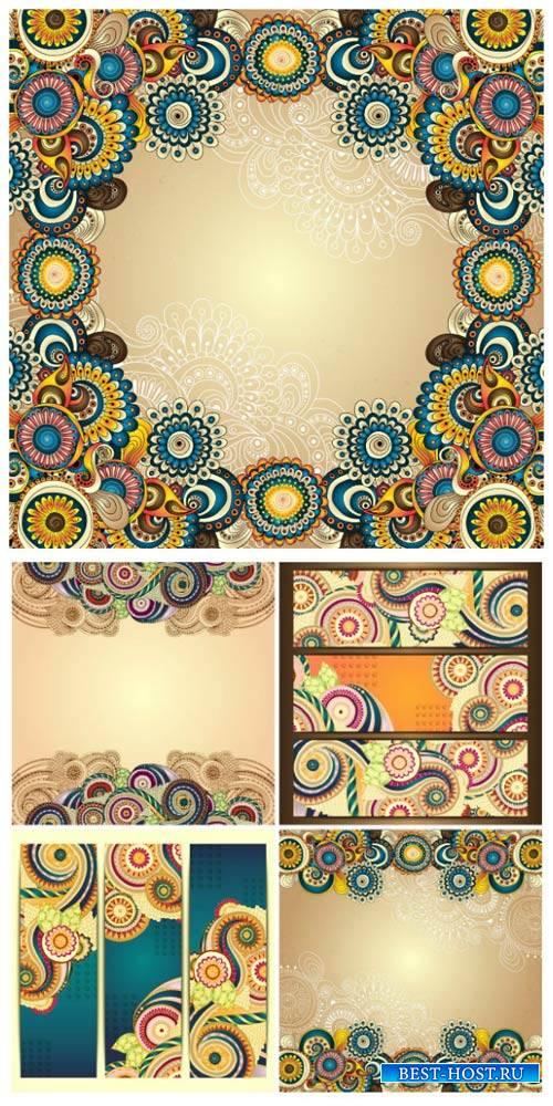 Фоны и баннеры с разноцветными узорами / Backgrounds and banners with colorful designs