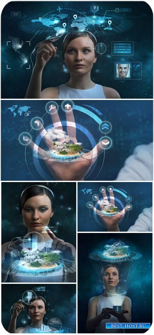 Женщина и современные технологии / Woman and modern technology - Stock photo