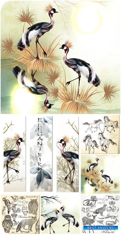 Животные и птицы в векторе, цапли, тигр, лошади / Animals and birds vector, ...